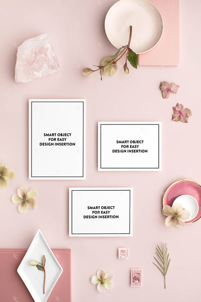 dusty rose vertical stationery styled stock with an invitation suite