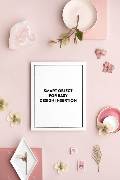 dusty rose stationery styled stock with 8x10 print