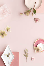 dusty rose vertical stationery styled stock flatlay