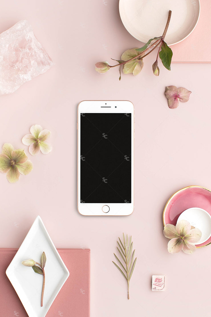 dusty rose stationery styled stock with blank smartphone