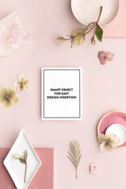 dusty rose stationery styled stock with vertical notecard