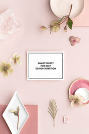 dusty rose stationery styled stock with horizontal notecard