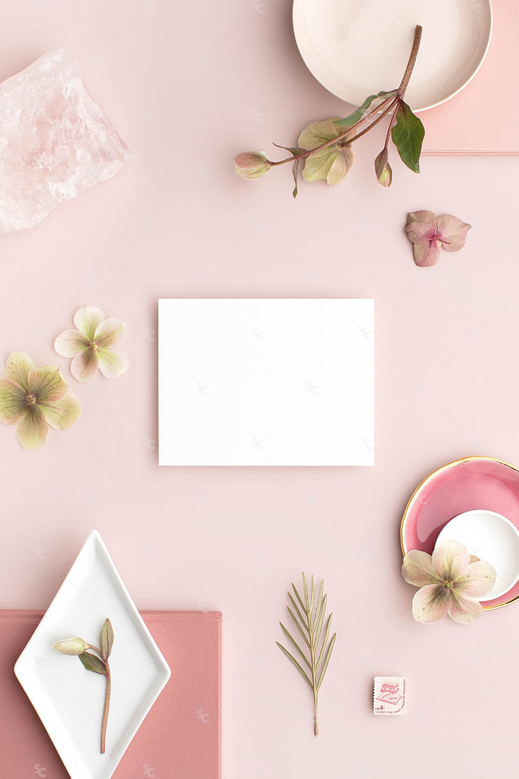 dusty rose stationery styled stock with blank horizontal notecard