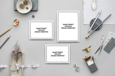 Grey horizontal stationery suite styled stock
