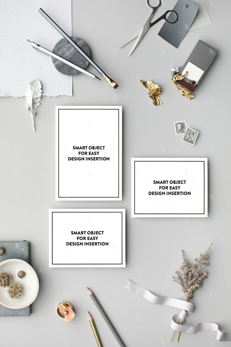 grey vertical stationery suite styled stock