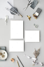 grey vertical stationery suite blank styled stock