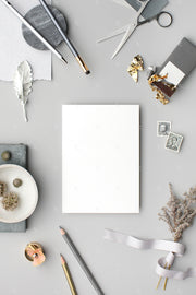 grey stationery styled stock with A7 paper