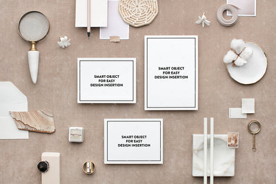 Bone and Neutral stationery invitation suite styled stock