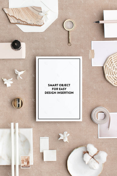 Bone and neutral A7 stationery styled stock