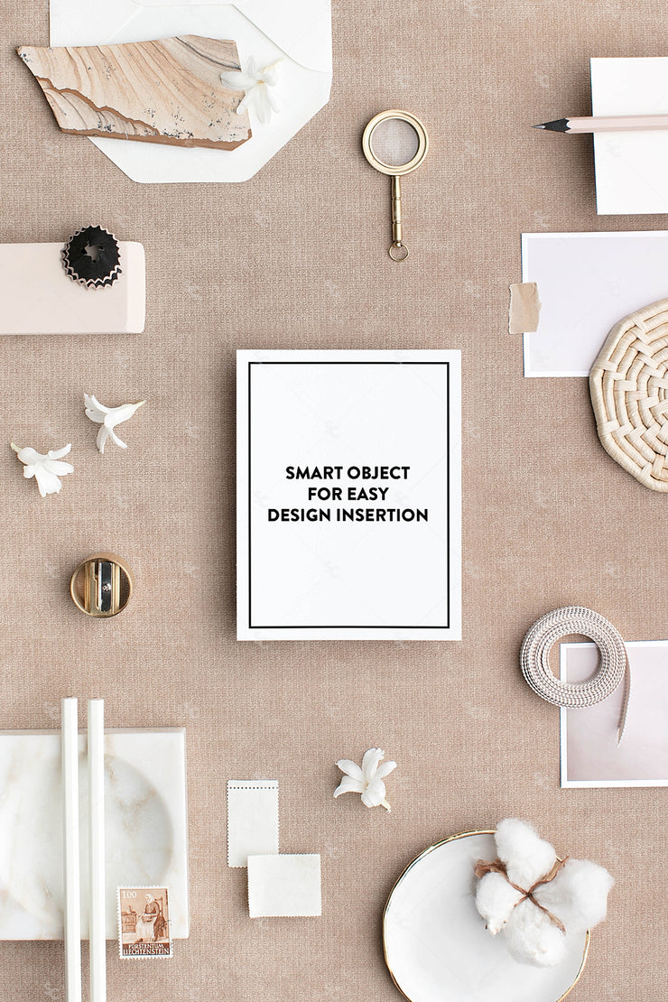 Bone and neutral notecard stationery styled stock