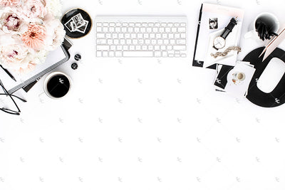 Styled Stock Photography Black, White and Blush Desk Collection #27