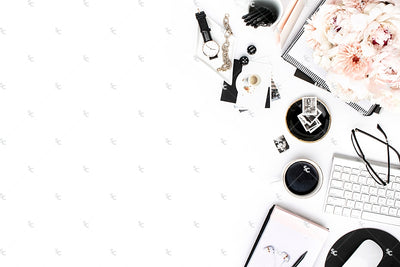 Styled Stock Photography Black, White and Blush Desk Collection #26