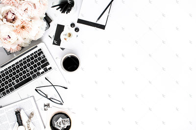 Styled Stock Photography Black, White and Blush Desk Collection #25