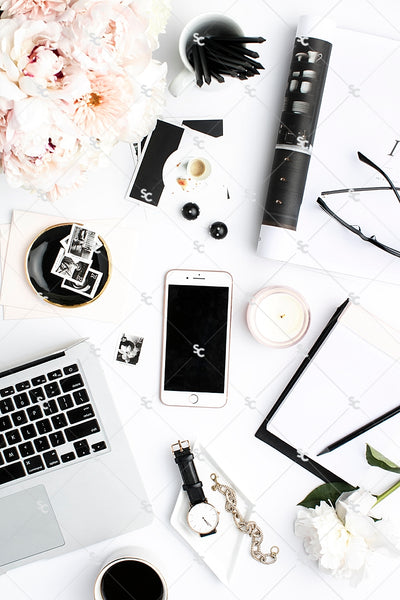 Styled Stock Photography Black, White and Blush Desk Collection #19