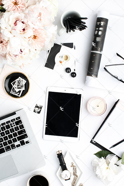 Styled Stock Photography Black, White and Blush Desk Collection #18