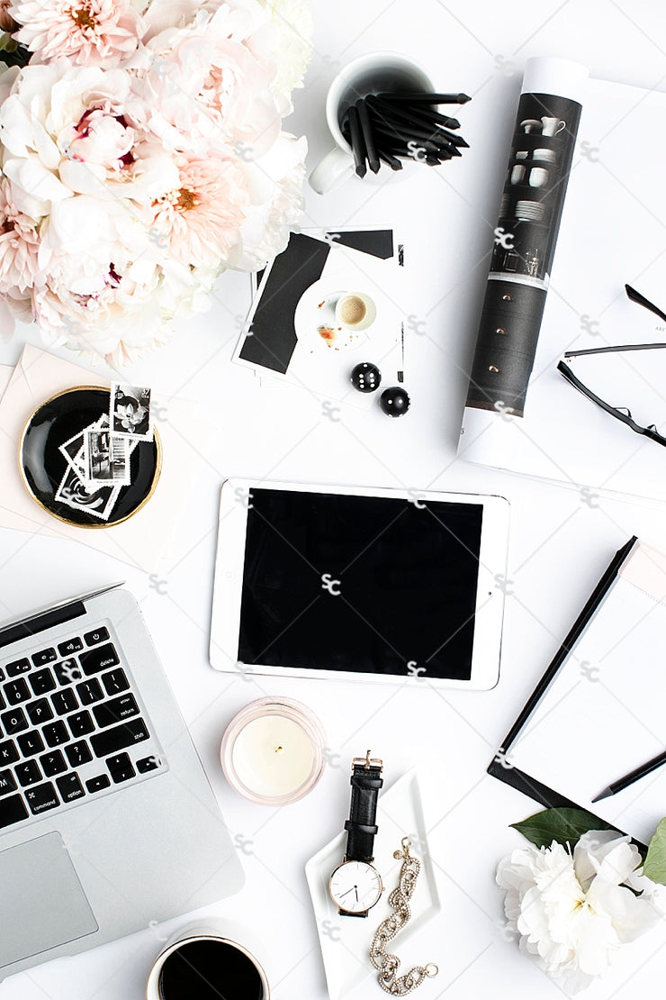 Styled Stock Photography Black, White and Blush Desk Collection #17