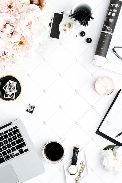 Styled Stock Photography Black, White and Blush Desk Collection #16