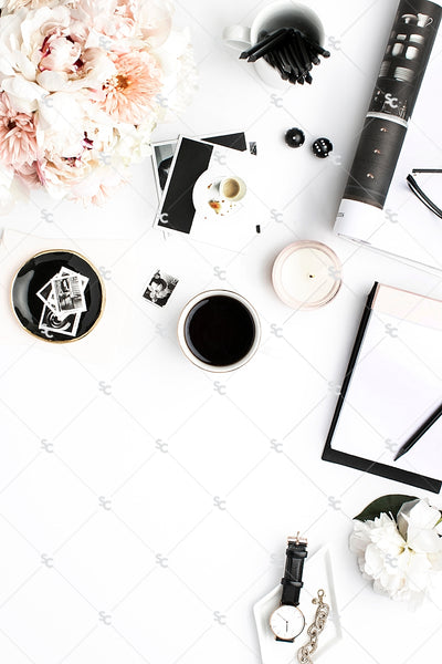 Styled Stock Photography Black, White and Blush Desk Collection #15