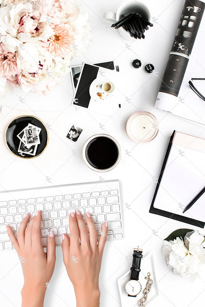 Styled Stock Photography Black, White and Blush Desk Collection #14