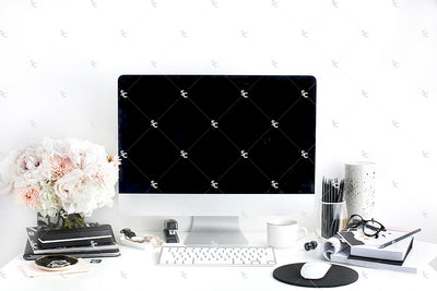 Styled Stock Photography Black, White and Blush Desk Collection #22