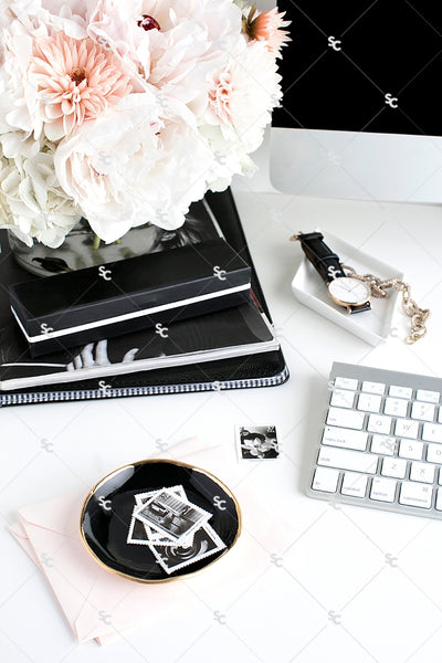 Styled Stock Photography Black, White and Blush Desk Collection #09