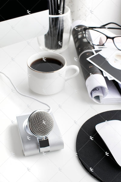 Styled Stock Photography Black, White and Blush Desk Collection #08