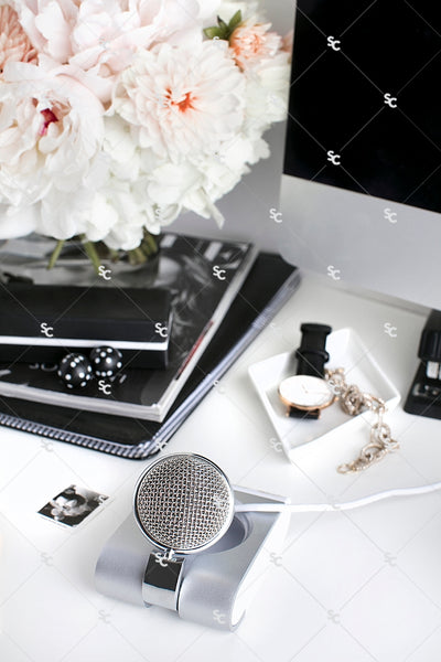 Styled Stock Photography Black, White and Blush Desk Collection #07