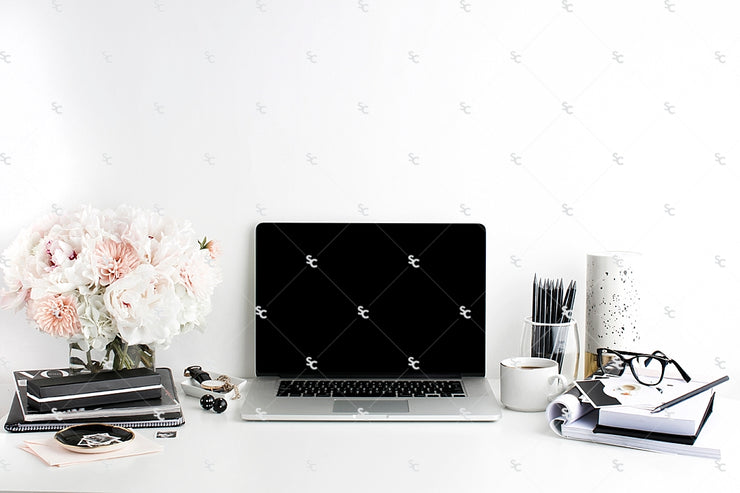Styled Stock Photography Black, White and Blush Desk Collection #21