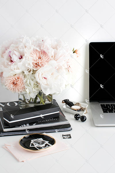Styled Stock Photography Black, White and Blush Desk Collection #06