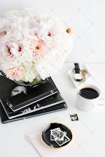 Styled Stock Photography Black, White and Blush Desk Collection #04