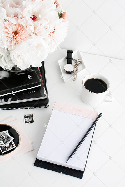 Styled Stock Photography Black, White and Blush Desk Collection #03