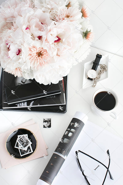 Styled Stock Photography Black, White and Blush Desk Collection #01