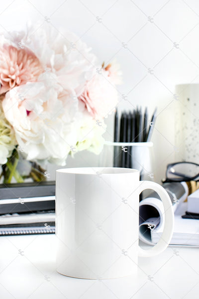 Styled Stock Photography Black, White and Blush Desk Collection #13 | Mug Set