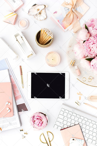 Styled Stock Photography Pretty in Pink Desk Collection #15