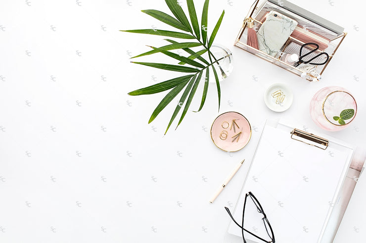 Styled Stock Photography Blush and Palms Desk Collection #22