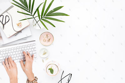 Styled Stock Photography Blush and Palms Desk Collection #18