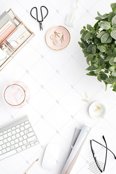 Styled Stock Photography Blush and Greenery Desk Collection2 #09