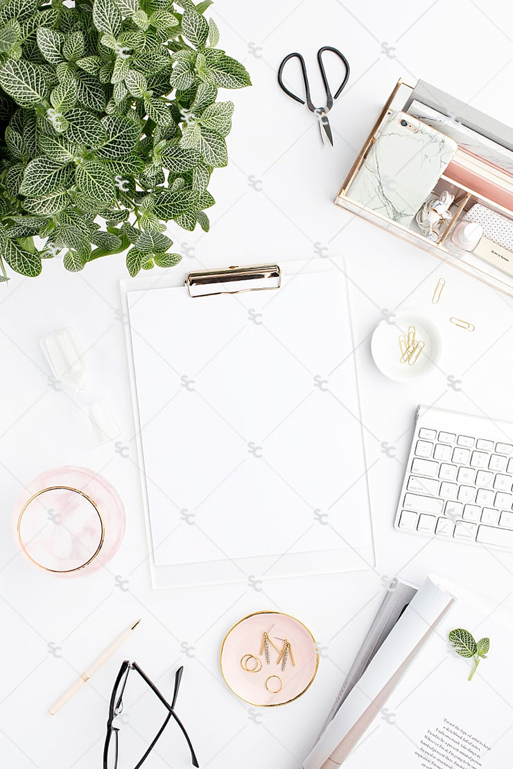 Styled Stock Photography Blush and Greenery Desk Collection2 #07
