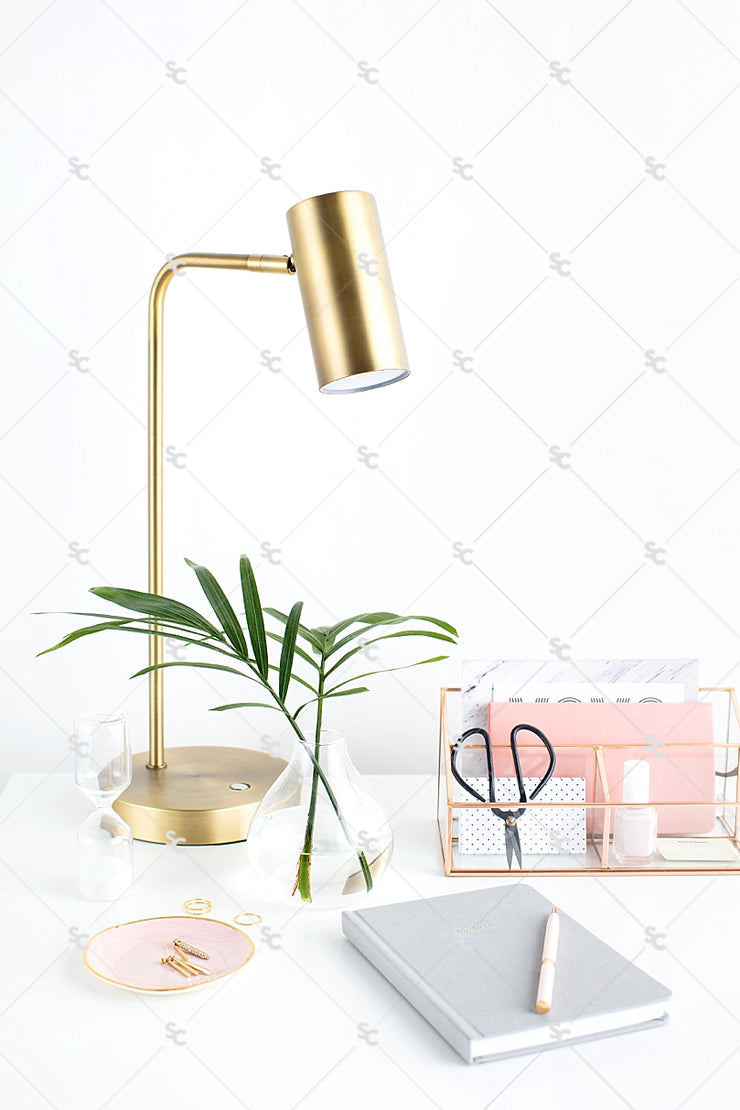 Styled Stock Photography Blush and Palms Desk Collection #01