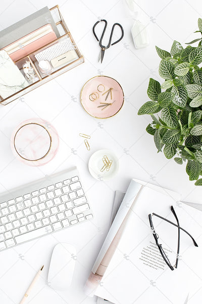 Styled Stock Photography Blush and Greenery Desk Collection2 #05