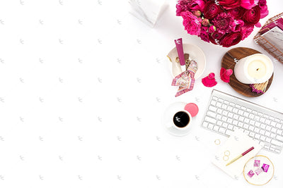 Styled Stock Photography Dark Pink Desk Collection #22