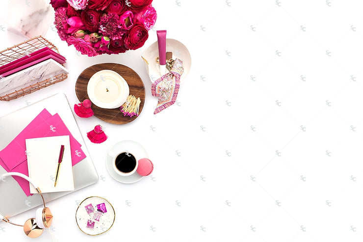 Styled Stock Photography Dark Pink Desk Collection #19