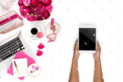 Styled Stock Photography Dark Pink Desk Collection #17