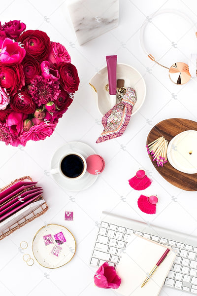 Styled Stock Photography Dark Pink Desk Collection #14