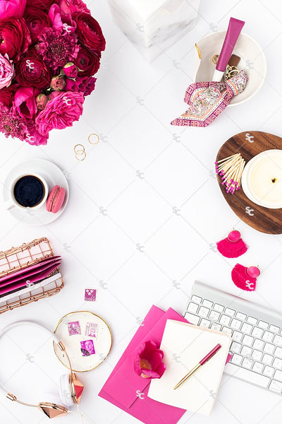 Styled Stock Photography Dark Pink Desk Collection #13