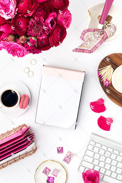 Styled Stock Photography Dark Pink Desk Collection #12