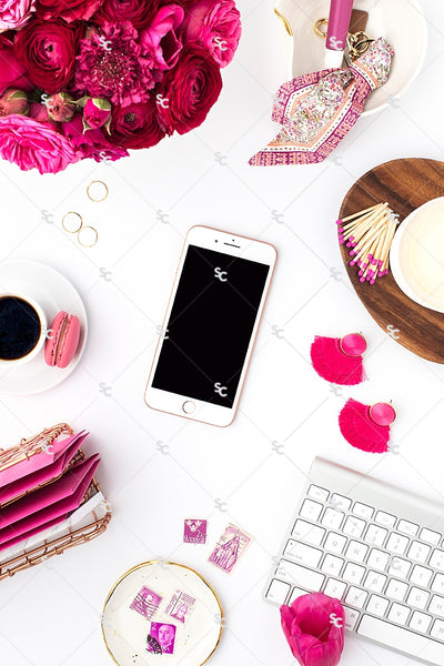 Styled Stock Photography Dark Pink Desk Collection #11