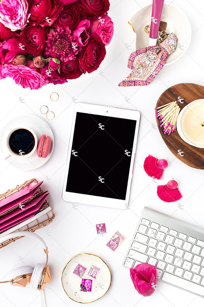 Styled Stock Photography Dark Pink Desk Collection #10