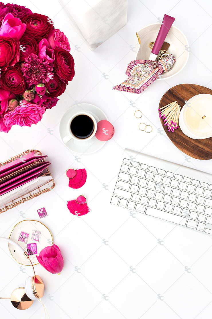 Styled Stock Photography Dark Pink Desk Collection #09