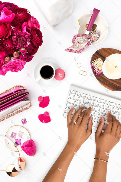 Styled Stock Photography Dark Pink Desk Collection #08